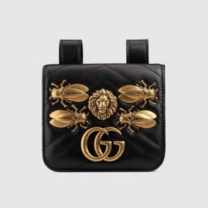 Gucci Black Animal Studs GG Marmont Mini Belt Pouch Bag