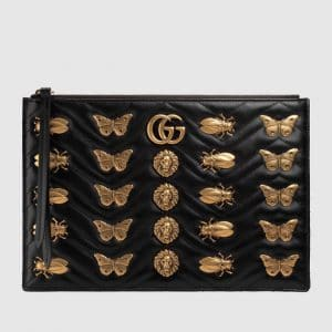 Gucci Black Animal Studs GG Marmont Pouch Bag