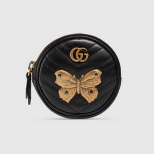 Gucci Black Animal Studs GG Marmont Round Wrist Pouch Bag