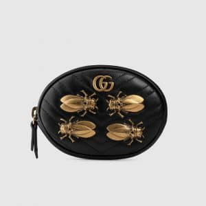 Gucci Black Animal Studs GG Marmont Wrist Pouch Bag