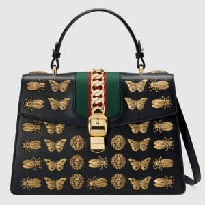 Gucci Black Animal Studs Sylvie Medium Top Handle Bag