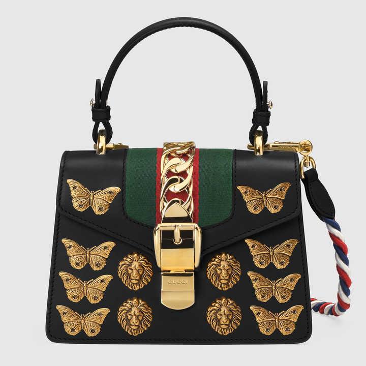 Gucci Black Animal Studs Sylvie Mini Bag