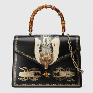 Gucci Black Beetle Print Broche Medium Top Handle Bag