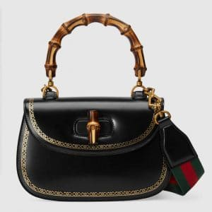 Gucci Black Frame Print Bamboo Top Handle Bag