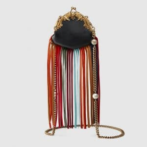 Gucci Black Fringed Mini Frame Bag
