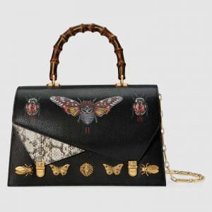 Gucci Black Ottilia Medium Top Handle Bag