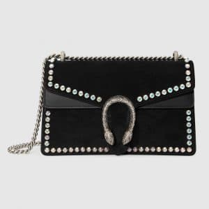 Gucci Black Suede with Crystals Dionysus Small Shoulder Bag