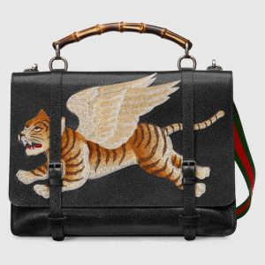 Gucci Black Tiger Print Briefcase Bag