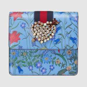 Gucci Blue New Flora Print GucciTotem Clutch Bag