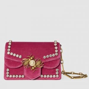Gucci Raspberry Velvet Broadway Mini Bag