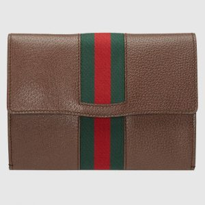 Gucci Brown Leather Web GucciTotem Portfolio Bag