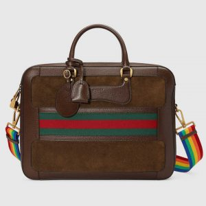 Gucci Brown Suede Web Briefcase Bag