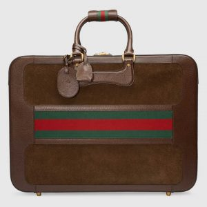 Gucci Brown Suede Web Large Briefcase Bag