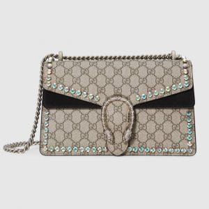 Gucci Beige/Ebony GG Supreme with Crystals Dionysus Small Shoulder Bag