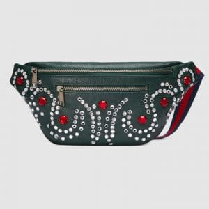 Gucci Green Crystal Embellished Leather Belt Bag