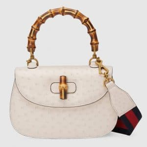 Gucci Ivory Ostrich Bamboo Top Handle Bag