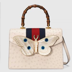 Gucci Ivory Ostrich with Moth Medium Top Handle Bag