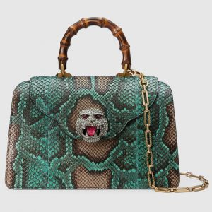 Gucci Light Green Python Frame Top Handle Bag