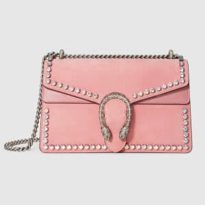 Gucci Light Pink Suede with Crystals Dionysus Small Shoulder Bag