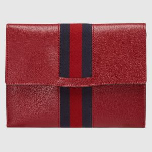 Gucci Red Leather Web GucciTotem Portfolio Bag