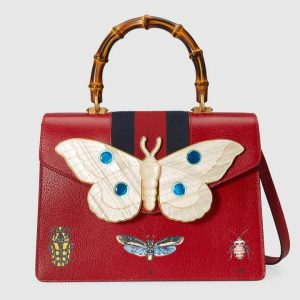 Gucci Red Leather with Moth Medium Top Handle Bag
