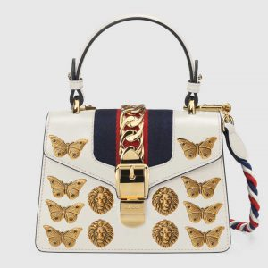 Gucci White Animal Studs Sylvie Mini Bag