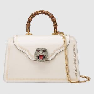 Gucci White Frame Print Top Handle Bag