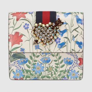 Gucci White New Flora Print GucciTotem Clutch Bag