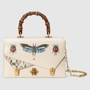 Gucci White Ottilia Small Top Handle Bag