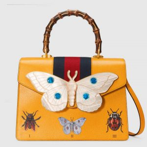 Gucci Yellow Leather with Moth Medium Top Handle Bag