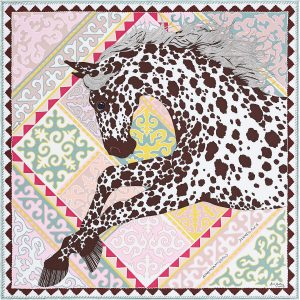 Hermes Appaloosa des Steppes Silk Twill Pocket Square 45