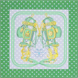Hermes Brides de Gala Love Silk Twill Pocket Square 45