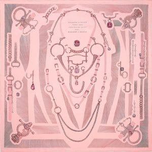 Hermes Etude pour une Parure de Gala Silk Twill Scarf 90