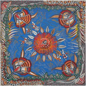 Hermes Flowers of South Africa Silk Twill Scarf 90