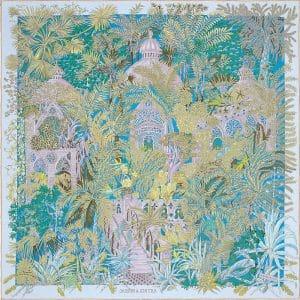 Hermes Jardin a Sintra Silk Twill Scarf 90