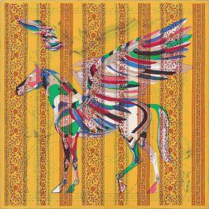 Hermes Le Pegase d'Hermes au Bloc Silk Twill Giant Scarf 140