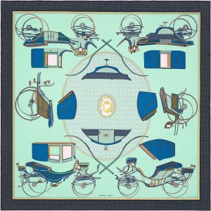 Hermes Les Voitures a Transformation Silk Twill Scarf 90
