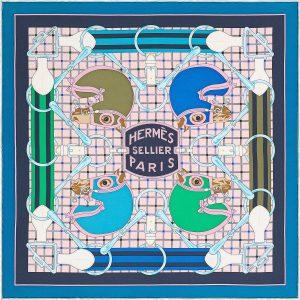 Hermes Tatersale Silk Twill Pocket Square 45