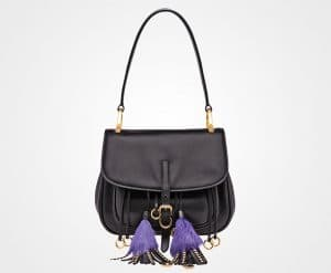 Prada Black Calf Leather with Tassels Corsaire Bag