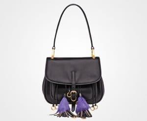 Prada Black Calf Leather with Tassels Corsaire Bag