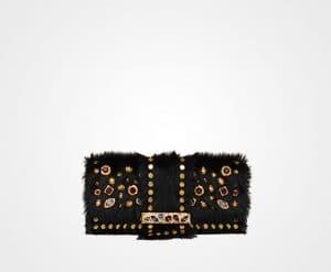 Prada Black Haircalf with Stones Shoulder Bag