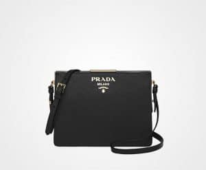 Prada Black Saffiano Light Frame Shoulder Bag
