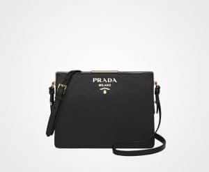 Prada Black Saffiano Light Frame Shoulder Bag