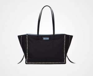 Prada Black Studded Fabric Etiquette Tote Bag