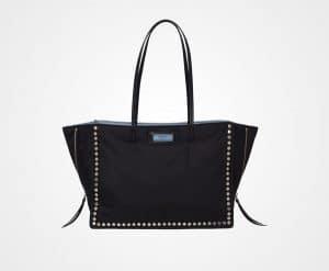 Prada Black Studded Fabric Etiquette Tote Bag