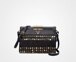 Prada Black Studded and Fringed Saffiano Light Frame Shoulder Bag