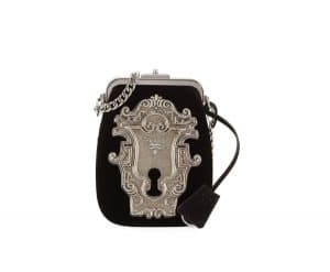 Prada Black Velvet Lock Coin Pouch Bag