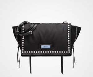 Prada Black/Astral Blue Studded Fabric Etiquette Shoulder Bag