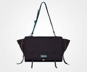 Prada Black/Peacock Blue Fabric Etiquette Shoulder Bag