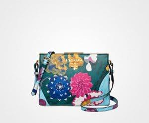 Prada Bottle Green Floral Printed Saffiano Light Frame Shoulder Bag